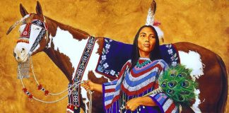 Marianne Millar good woman native american indian girl with horse acrylic painting