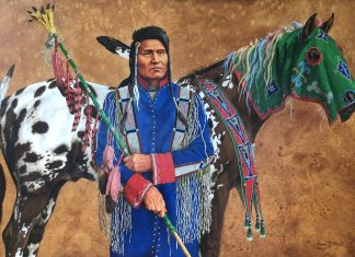 marianne millar thunder rolling over mountain native american indian horse beaded acrylic painting