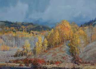 Andrew Peters Before The Storm clouds pond lake stream trees high mountain landscape western oil painting