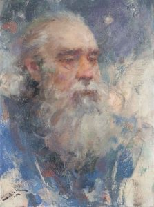 Dan Beck Storyteller old man with beard painting portrait