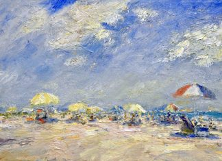 Mark Daly Sunny Clouds beach umbrellas sky oil painting