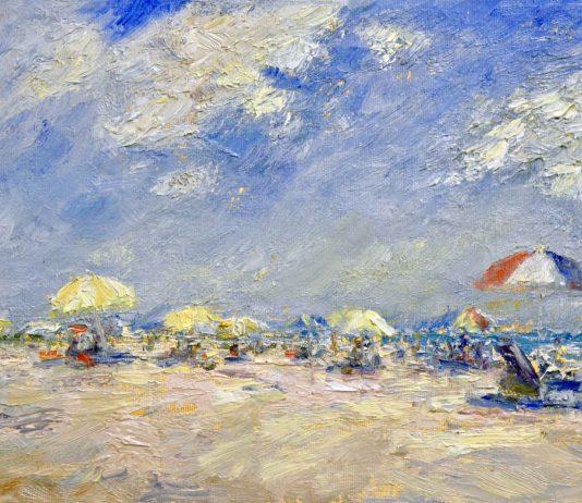 Mark Daly Sunny Clouds beach umbrellas sky oil painting