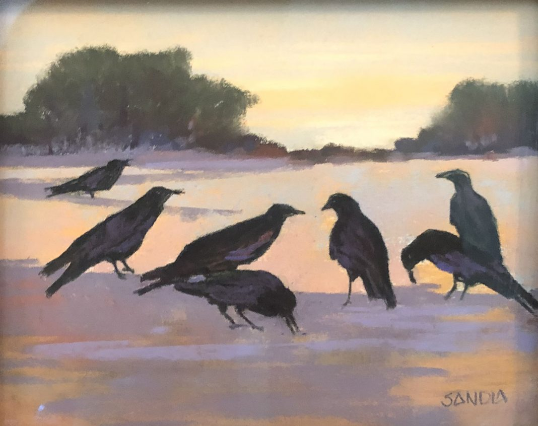 Elizabeth Sandia Ravens Of Windmill Ridge landscape birds wildlife pastel painting