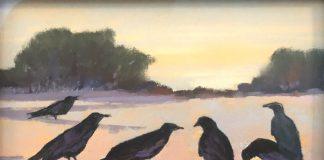 Elizabeth Sandia Ravens Of Windmill Ridge landscape birds wildlife pastel painting