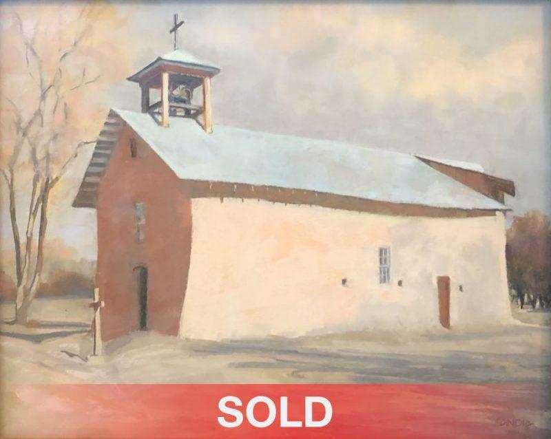 "Elizabeth Sandia ""Santa Cruz Chapel - Ojo Caliente, NM"" pastel painting architecture building mission stucco western sold"