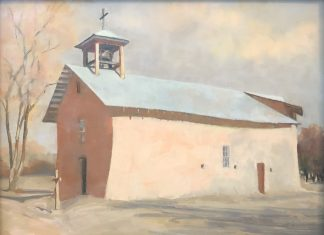 "Elizabeth Sandia ""Santa Cruz Chapel - Ojo Caliente, NM"" pastel painting architecture building mission stucco western"