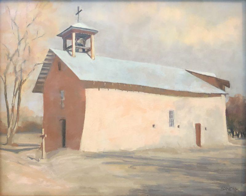 "Elizabeth Sandia ""Santa Cruz Chapel - Ojo Caliente, NM"" pastel painting architecture building mission stucco western"