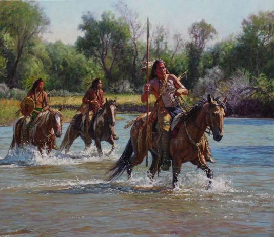 Martin Grelle Warriors On The Greasy Grass Native American horses western oil painting Briscoe Museum