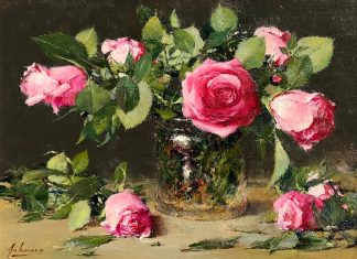 robert johnson pink roses stillife floral oil painting