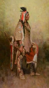 Z.S. Liang Grizzly Bear Man Native American man western oil painting Briscoe Museum