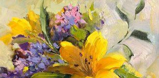 hedi moran from a friend's garden flower still life oil painting