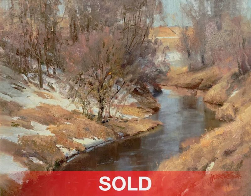 Andrew Andy Peters Mountain Stream river snow trees high mountain western oil landscape painting