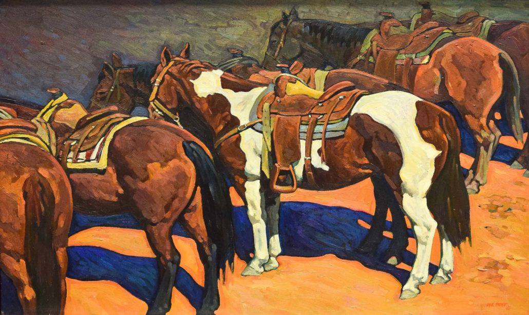 howard post waiting to work horses in corral western oil painting