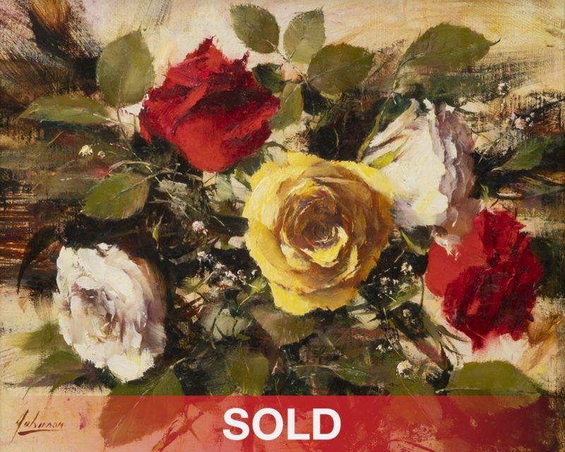 Robert Johnson Five Roses floral flowers still life oil painting
