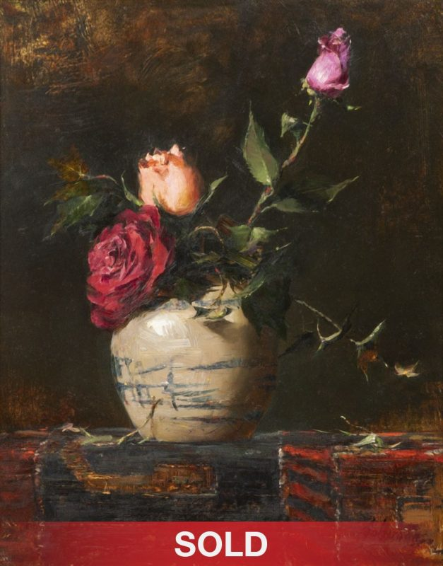 Robert Johnson Three Roses sill life pottery flower floral still life oil painting