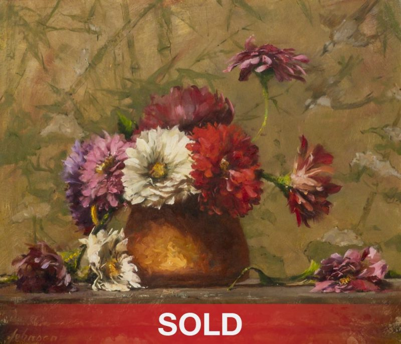 Robert Johnson Zinnias In A Copper Pot flower floral still life oil painting