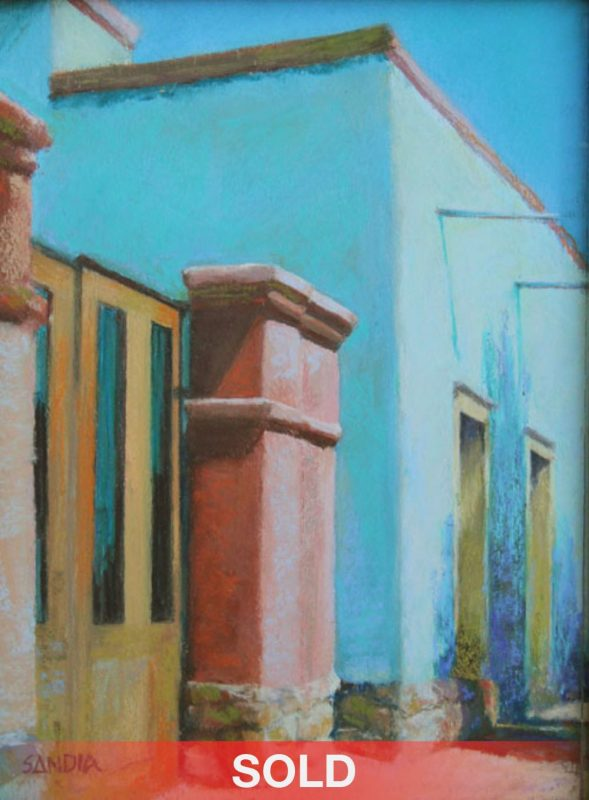 Elizabeth Sandia Barrio Colors architecture building Santa Fe painting