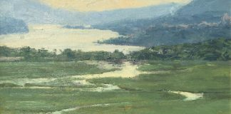 Skip Whitcomb Hudson River West Point landscape mountains oil painting