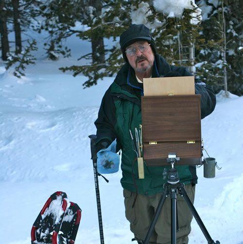 Skip Whitcomb painting plein air artist snow trees mountains