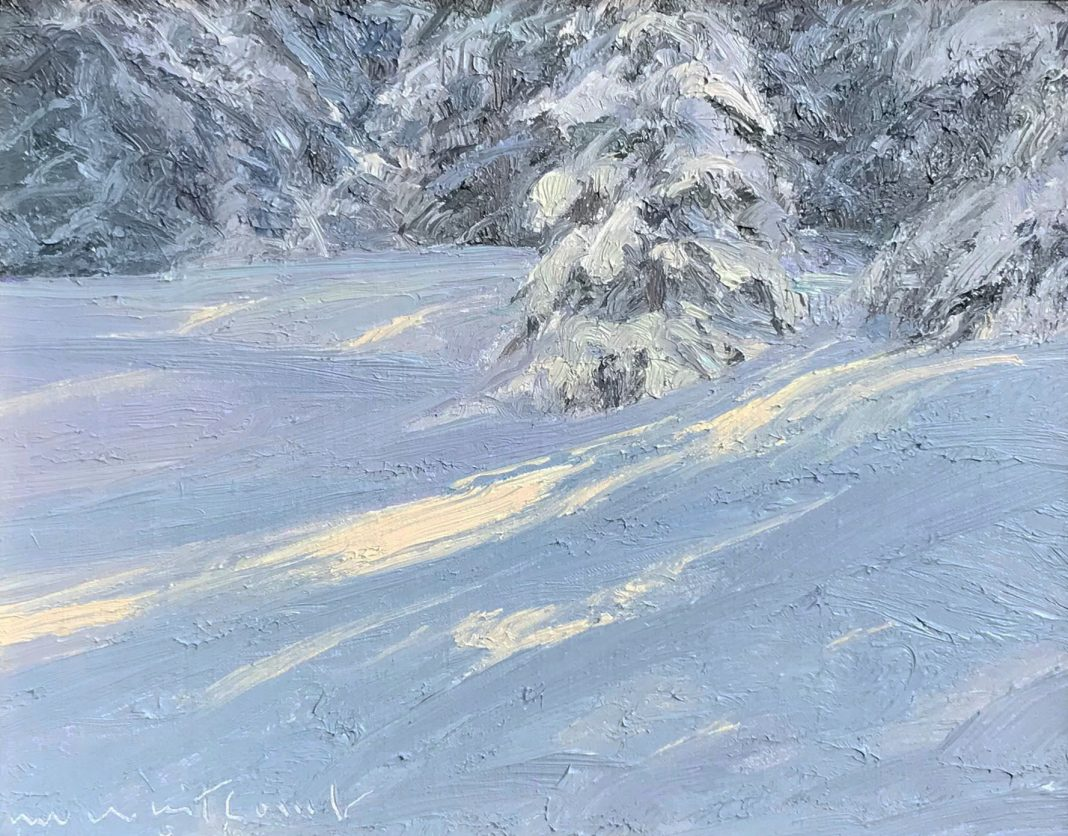 skip whitcomb snow landscape trees oil painting