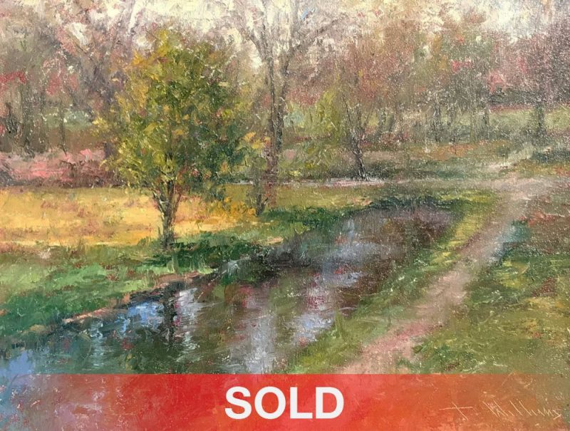 Todd Williams Park Pathway stream trees path river landscape oil painting