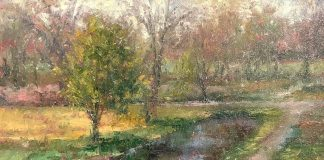 todd williams park pathway trees grass oil painting