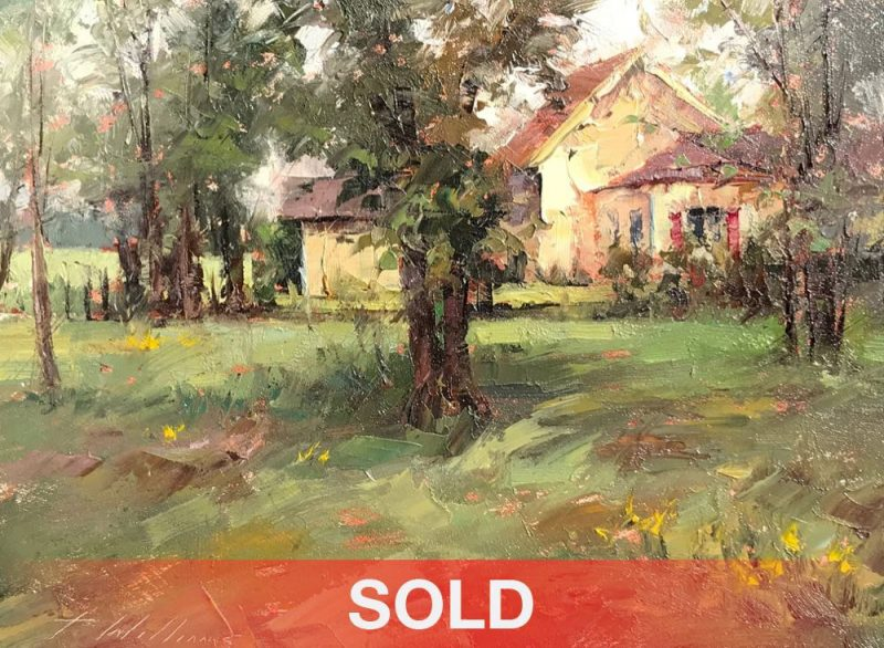 Todd Williams Woods Cottage architectural tree landscape oil painting