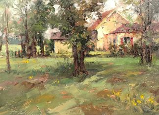todd williams wood cottage house trees grass landscape oil painting