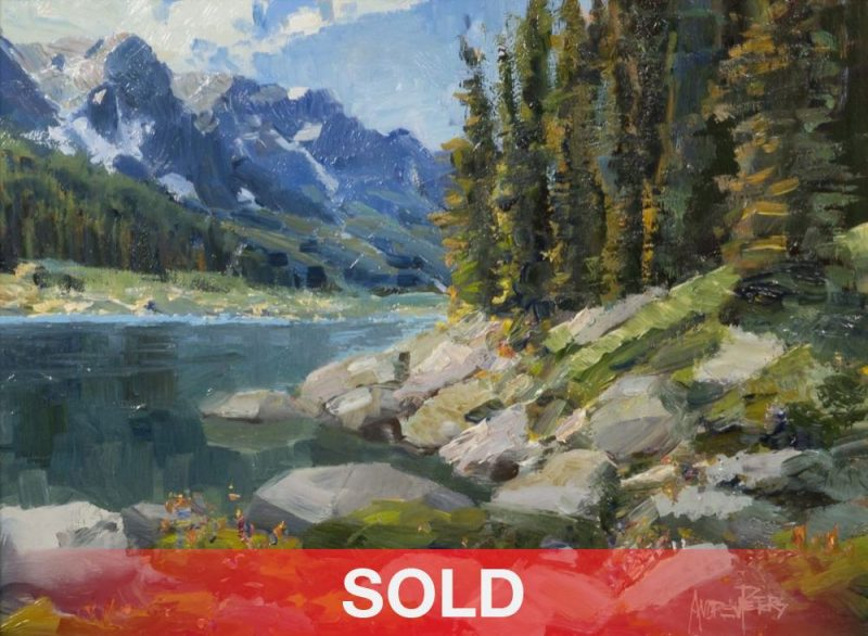 Andrew Andy Peters Ouzel Lake high mountain trees rocks clouds western oil landscape painting