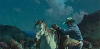 Bil Anton Moonrise On The Back Trail western cowboy painting