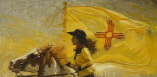 Nancy Boren In The Land of The Yellow Sky oil painting woman on horse western woman artist