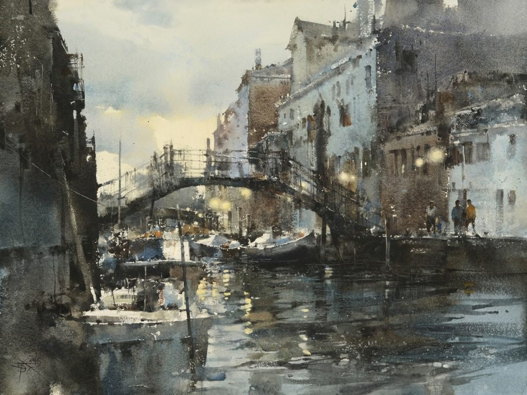 Chung Wei Chien Venice At Dusk buildings waterway watercolor painting