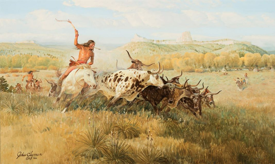 John Clymer Spotted Buffalo, Native American buffalo hunt