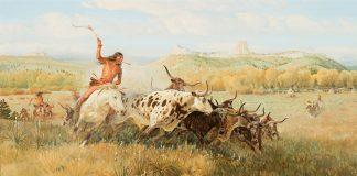 John Clymer Spotted Buffalo, Native American buffalo hunt