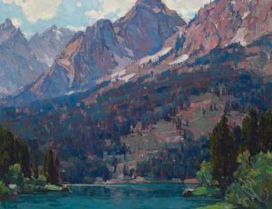 Edgar Payne Rugged Peaks high mountain landscape trees lake oil painting