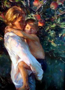 Daniel Gerhartz In Mother's Arms figurative painting