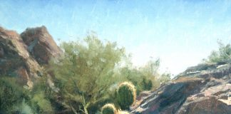 Matt Smith Willow Spring Barrels cactus western landscape cacti oil painting
