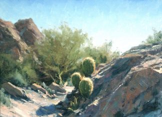 Matt Smith Willow Spring Barrels cactus western landscape cacti oil painting