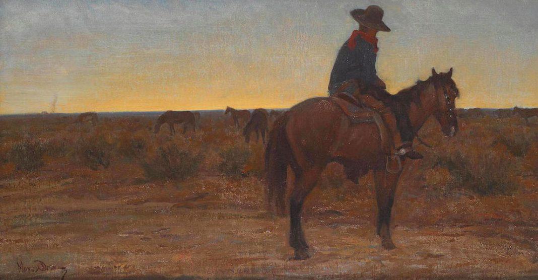 Maynard Dixon Daybreak cowboy on horse western landscape painting