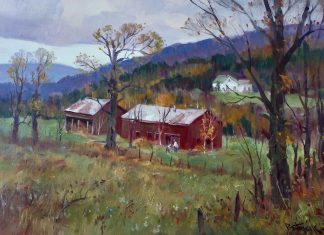 Paul Strisik Two Barns Waterville Vermont landscape painting