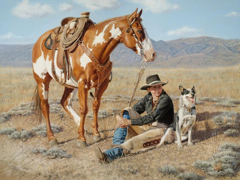 Ann Hanson Rest Stop cowgirl horse landscape oil painting