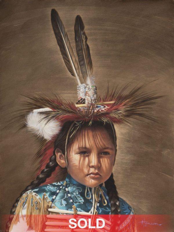 Ann Hanson Shadow Dancer Native American dance feathers western oil painting