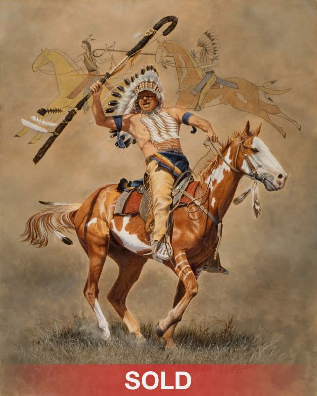 ann hanson strong medicine native american oil painting horse warrior equine