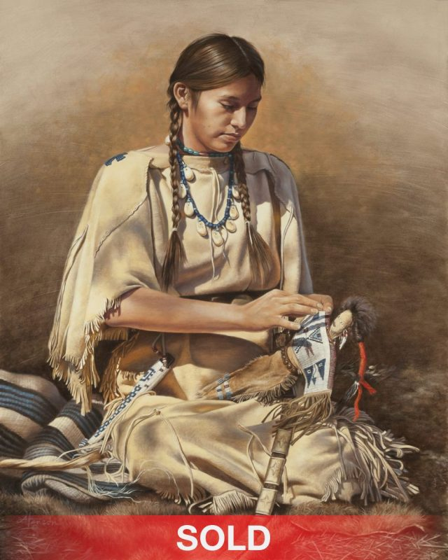 Ann Hanson The Dollmaker Native American girl woman western oil painting sold