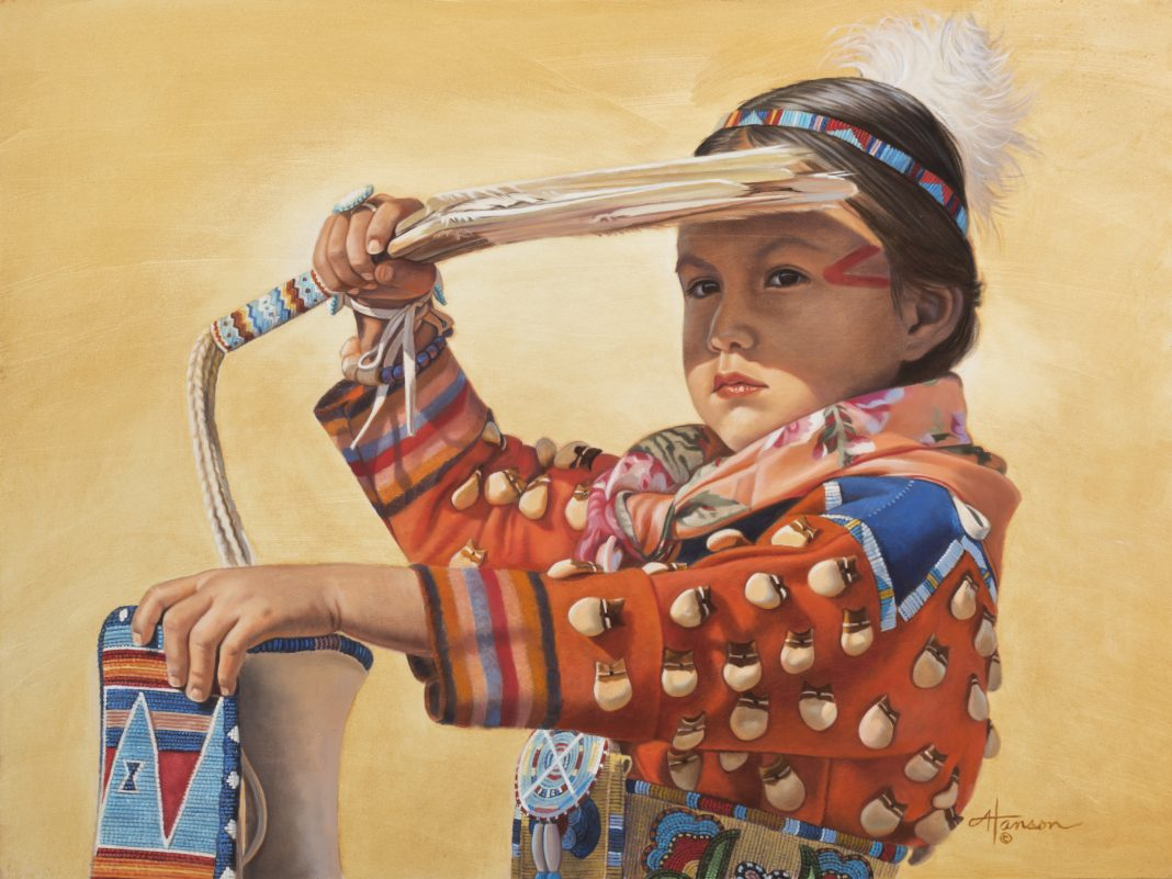 Ann Hanson The Lookout Native American girl feather western oil painting