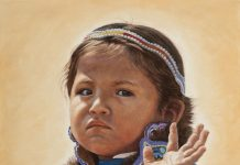 Ann Hanson The Queen Wave (Goodbye 2020) Native American girl woman lady western oil painting