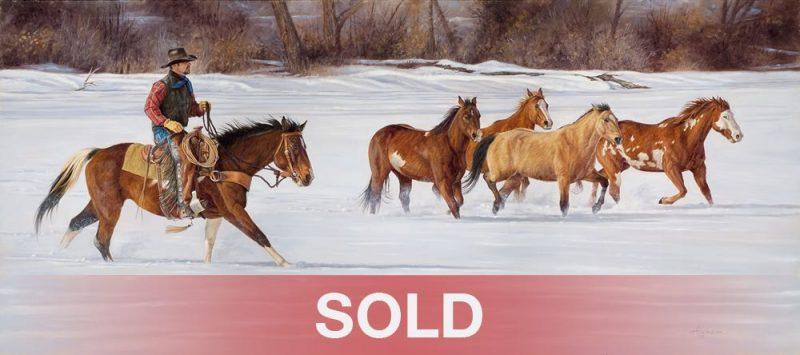 Ann Hanson Winter Getaway cowboy horse snow western oil painting
