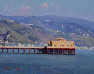 Calvin Liang A View From Malibu ocean mountains sky pier oil painting