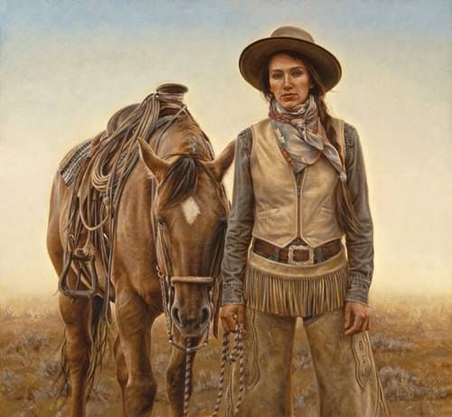 carrie ballantyne sagebrush and silk cowgirl woman horse western oil painting