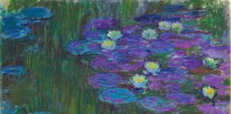 """Claude Monet """"Nymphéas en Fleur"""" oil painting water lilies pond reflection"""
